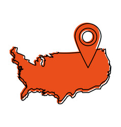 usa map outline with gps pin icon image vector image
