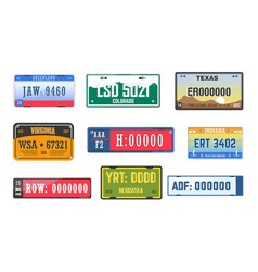 Vehicle license car number plates isolated icons vector