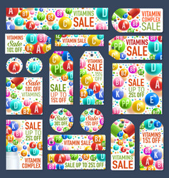 Vitamin complex pills and capsules sale posters vector