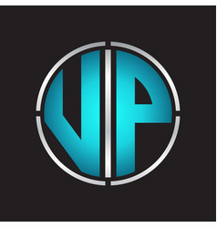 Vp logo initial with circle line cut design vector