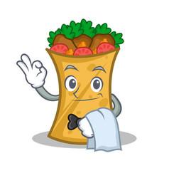 waiter kebab wrap character cartoon vector image