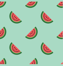 Watermelon seamless pattern on mint background vector