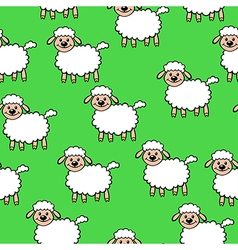 White lamb pattern green vector