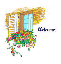 Window and flowers box welcome card sketchy vector