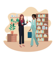 Women with wallet and credit card in room vector
