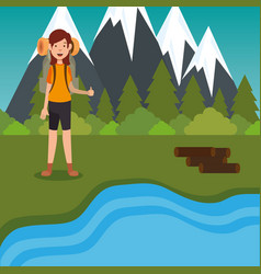 young woman scout in the camping zone scene vector image