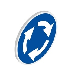 Blue round road sign with white arrows icon vector image