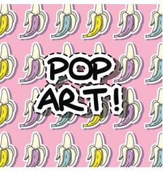 Fashion banana pop art patch background vector