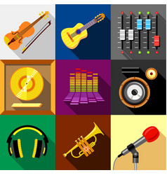 music icons set flat style vector image