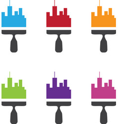 set of city skyline renovation icons with paint vector image vector image