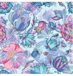 azure floral pattern vector image