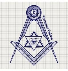 Ball pen freemasony sign vector image