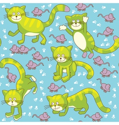 Funny cat and mouse seamless vector image