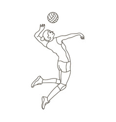 High athlete plays volleyballthe player throws vector
