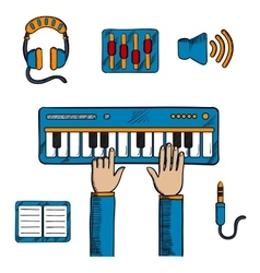 Musical and sound recording icons vector image