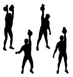 Set silhouette muscular man holding kettle bell vector image