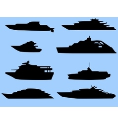 The silhouettes of the boats 8 pieces vector image vector image