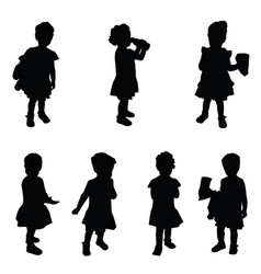 child silhouette cute set in black vector image vector image