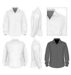 Mens button down shirt long sleeve design template vector image vector image