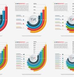 set of growing bar chart templates 3 8 options vector image vector image