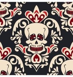 Victorian Gothic skull Damask Pattern vector image