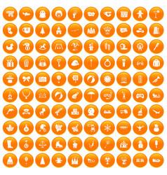 100 children icons set orange vector image
