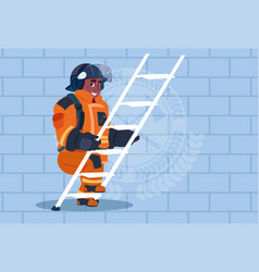 african american fireman climb ladder up in vector image