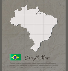 brazil map silhouette paper card map vector image vector image