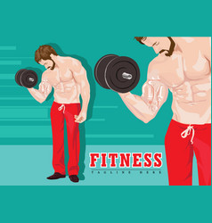 sexy man exercising with dumbbells without shirt vector image vector image