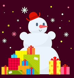 snowman and piles of presents on dark vector image vector image
