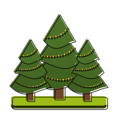 tree with string lights christmas related icon vector image vector image