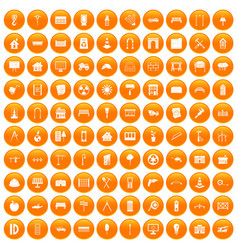100 architecture icons set orange vector image