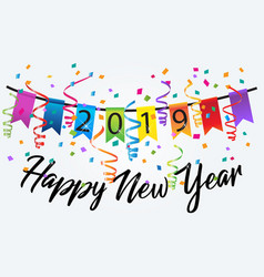2019 happy new year colorful confetti background vector image