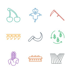 9 harvest icons vector