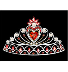 a female diadem with a heart and precious stones vector image