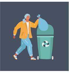 A woman throws trash vector