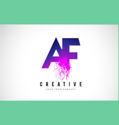 Af a f purple letter logo design with liquid vector