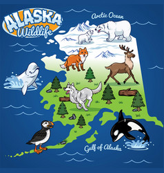 Alaska wildlife map in cartoon style vector