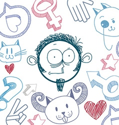 Art colorful drawing of surprised person education vector