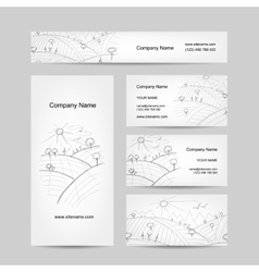 Autumn field sketch business cards design vector image