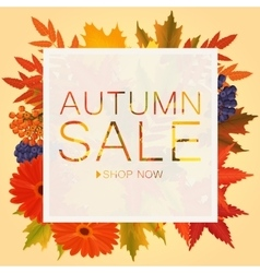 Autumn sale discount banner Poster with golden vector image