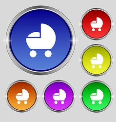 Baby pram icon sign Round symbol on bright vector