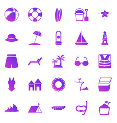 beach gradient icons on white background vector image