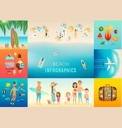beach set with concepts snorkeling surfing vector image