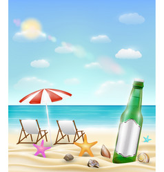 beer bottle and sea shell starfish on a sea sand vector image