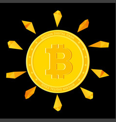 Bitcoin with golden stone vector