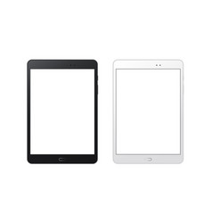 black and white tablet computers mockups vector image