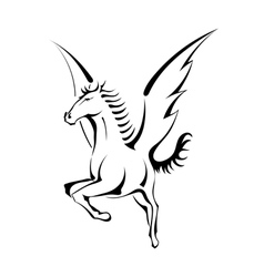 Black silhouette of Pegasus vector image
