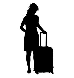 black silhouettes travelers with suitcases on vector image