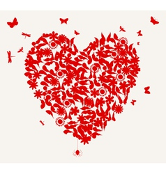 Butterflies and flower heart vector